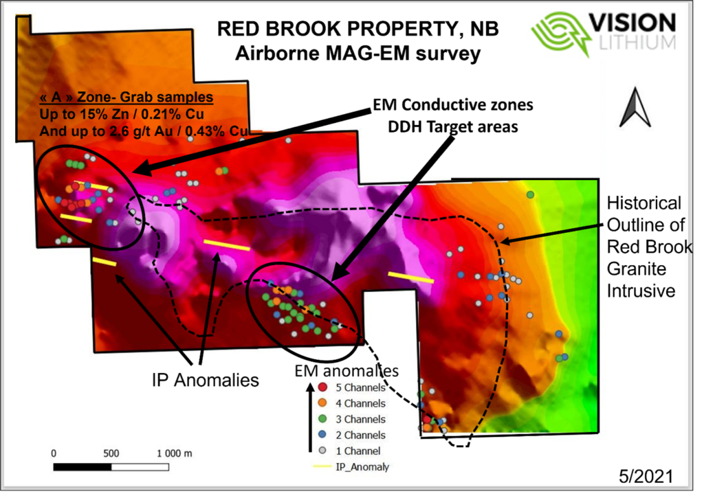 Figure 1 – Red Brook Drill Targets from MAG-EM Survey